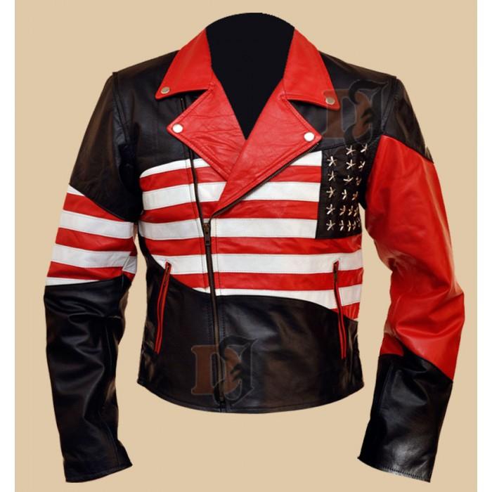 Flag leather jacket