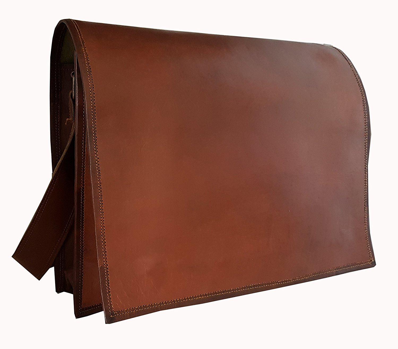 HLC Leather Full Flap Messenger Handmade Bag Laptop Bag Satchel Bag Padded  Messenger Bag School Bag 15X11X4 Inches Brown 8bb8563ef58
