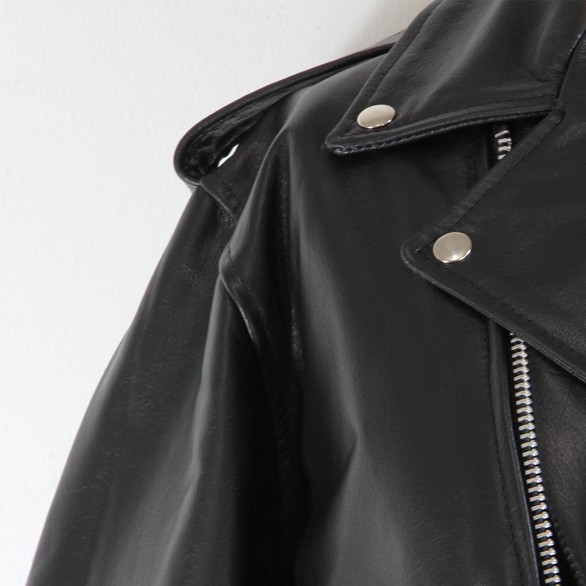 Black TOP GRADE Leather Motorcycle Biker Jacket 3