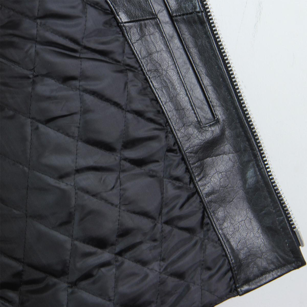 Black TOP GRADE Leather Motorcycle Biker Jacket 4