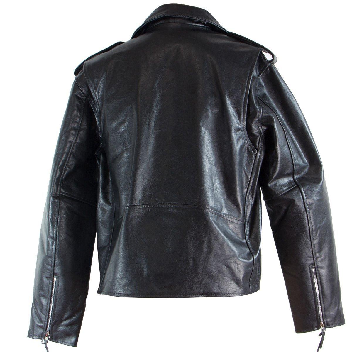 Black TOP GRADE Leather Motorcycle Biker Jacket 5