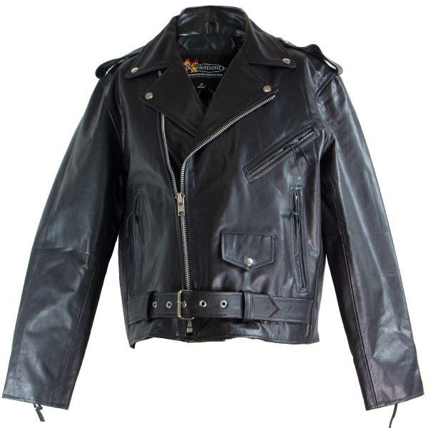 Black TOP GRADE Leather Motorcycle Biker Jacket