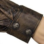 Distressed Brown Leather Shirt with Buffalo Buttons 2