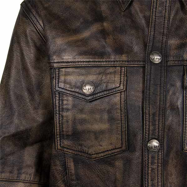 Distressed Brown Leather Shirt With Buffalo Buttons
