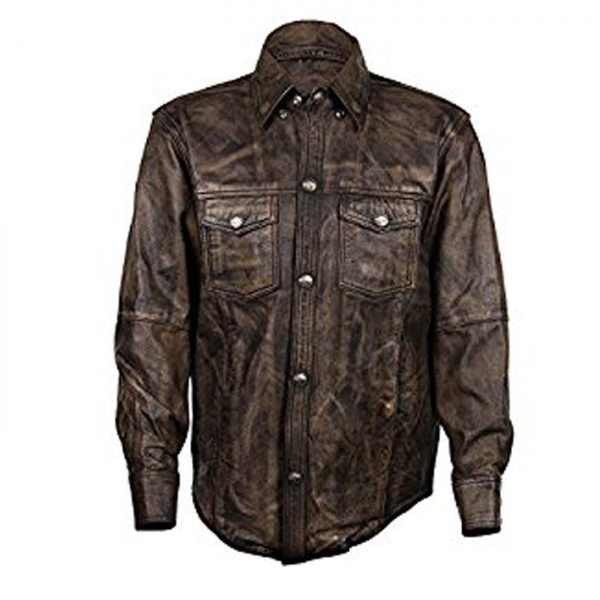 Distressed Brown Leather Shirt with Buffalo Buttons.