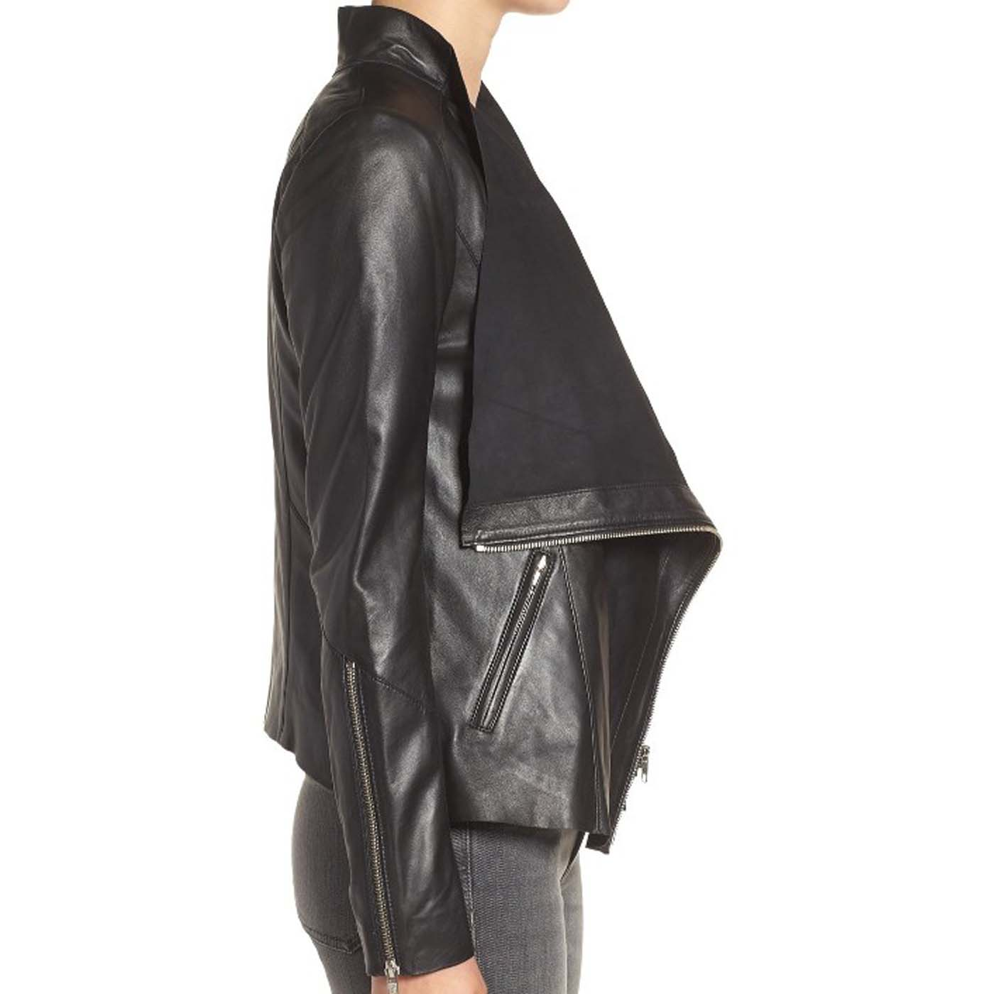 Drape Front Raw Edge Leather Jacket 1.