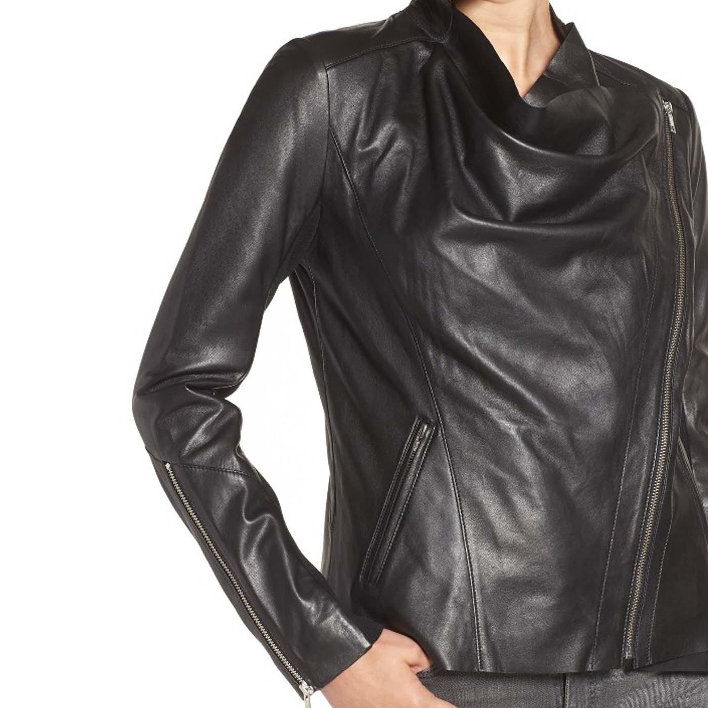 Drape Front Raw Edge Leather Jacket 2.