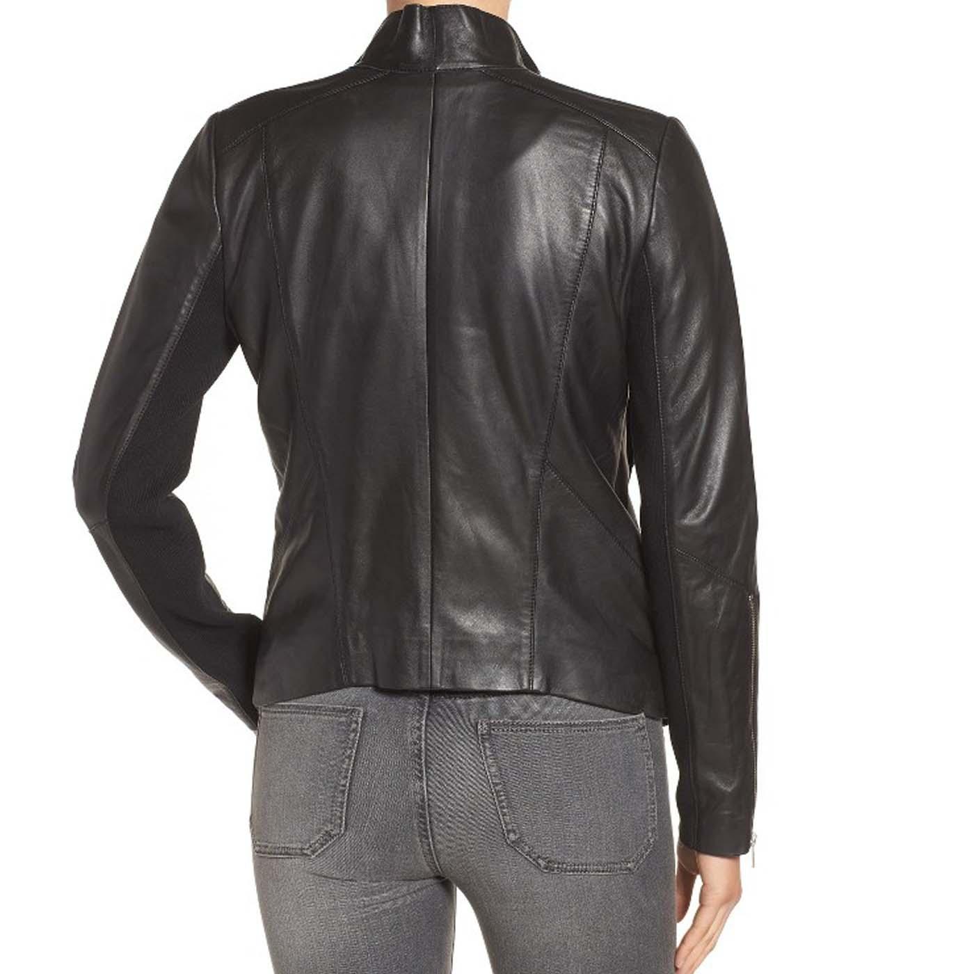 Drape Front Raw Edge Leather Jacket 3..