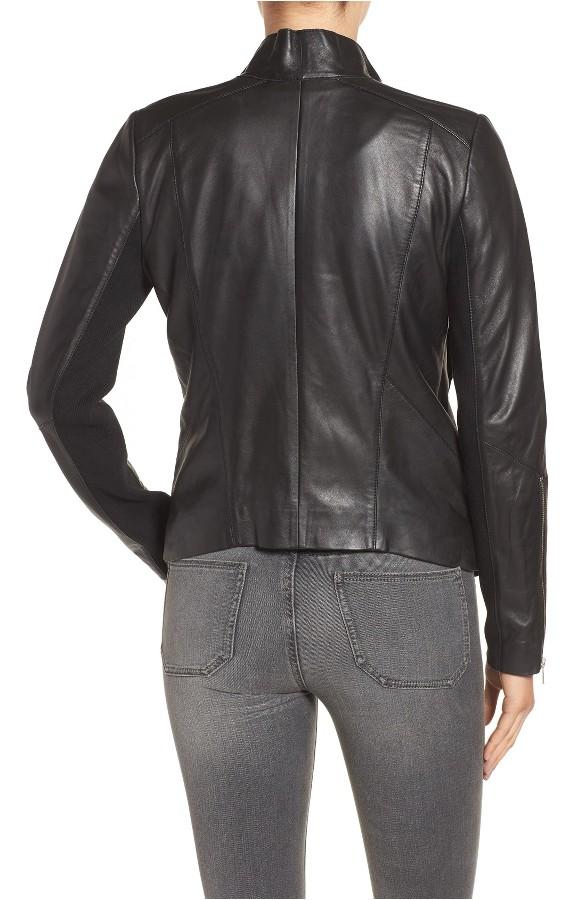 Drape Front Raw Edge Leather Jacket 3