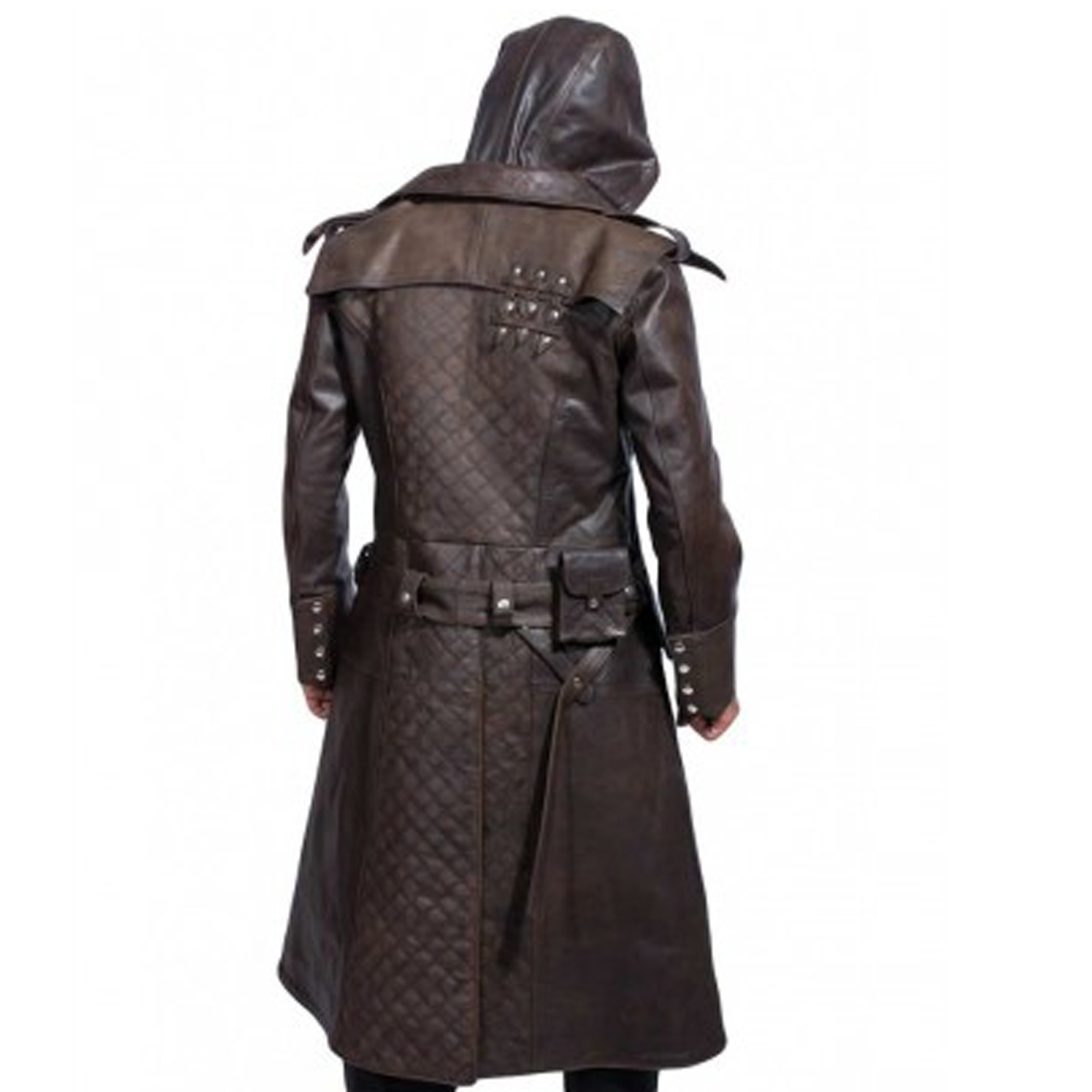 Hooded Brown Leather Trench Coat 1.