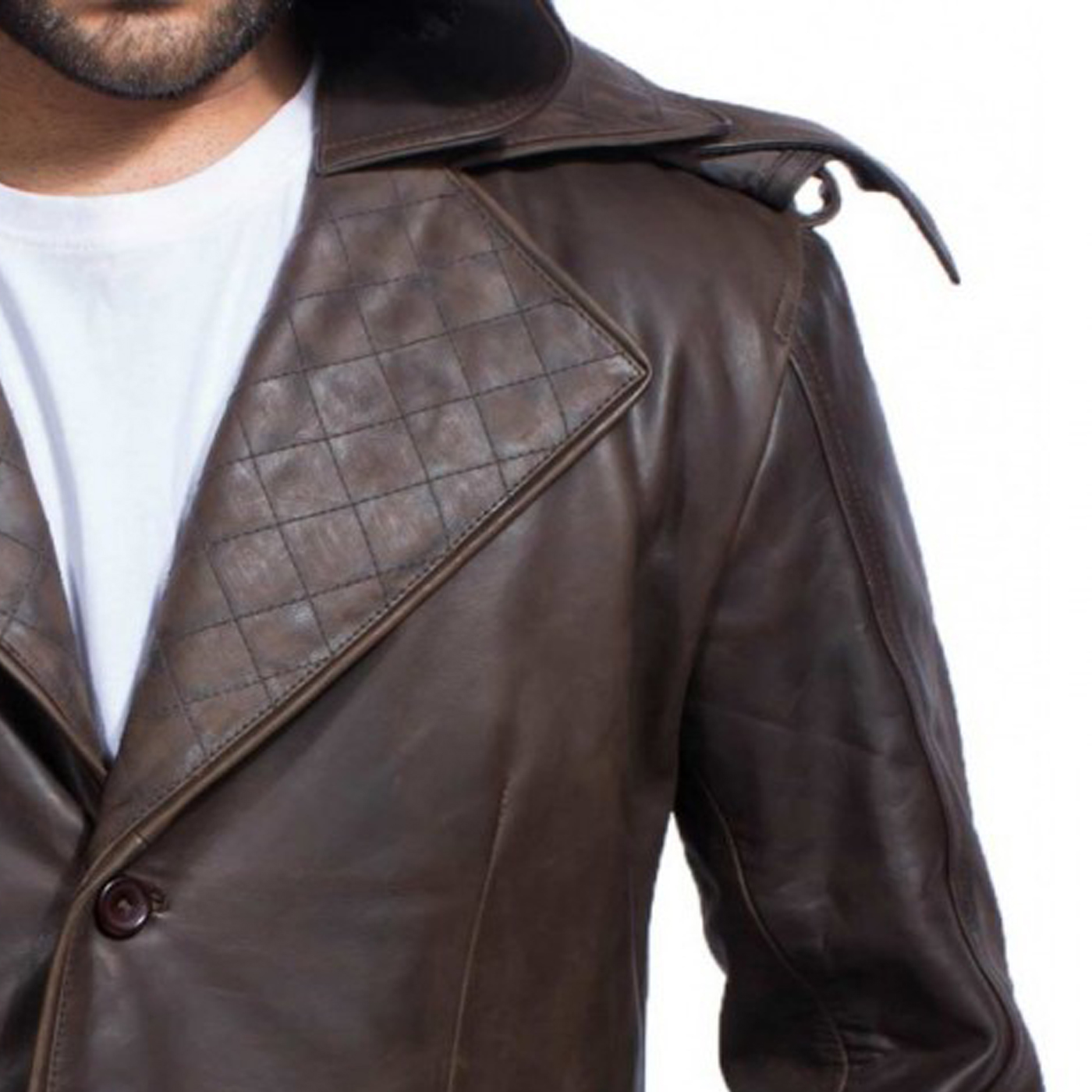 Hooded Brown Leather Trench Coat 2.