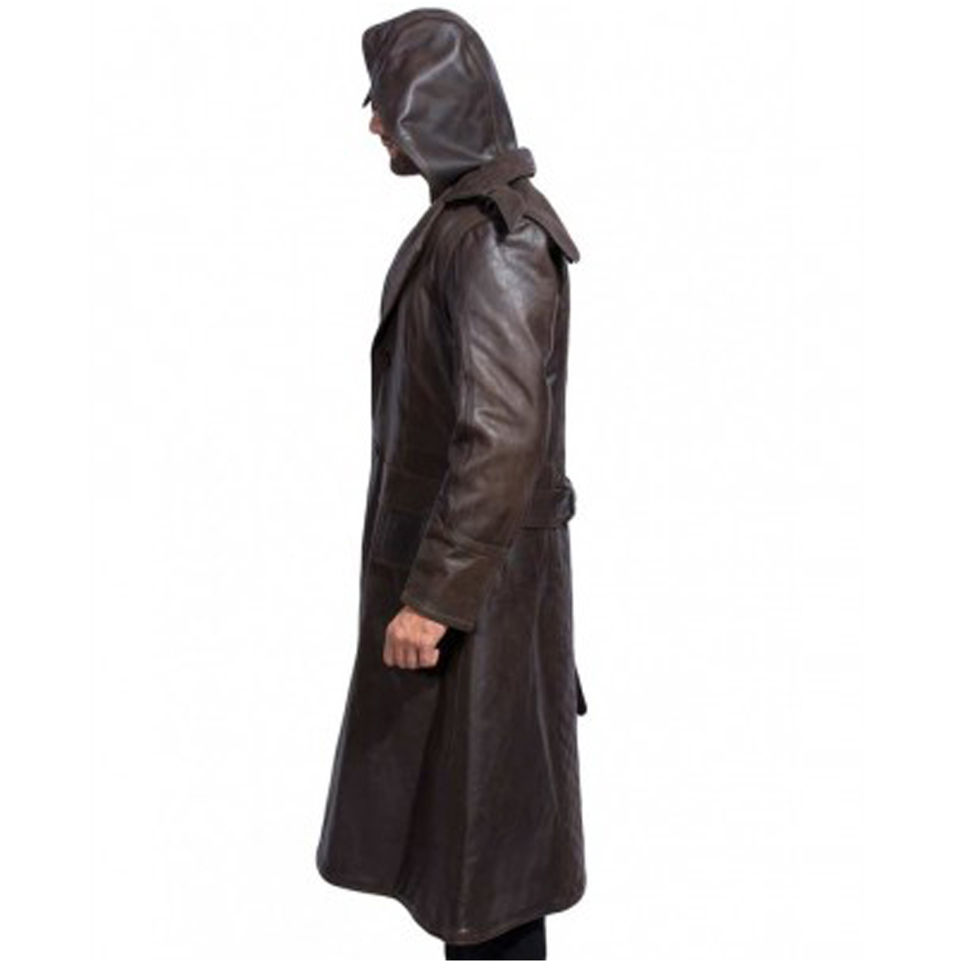 Hooded Brown Leather Trench Coat 3.