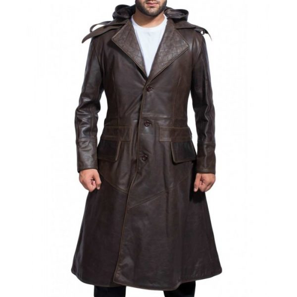 Hooded Brown Leather Trench Coat