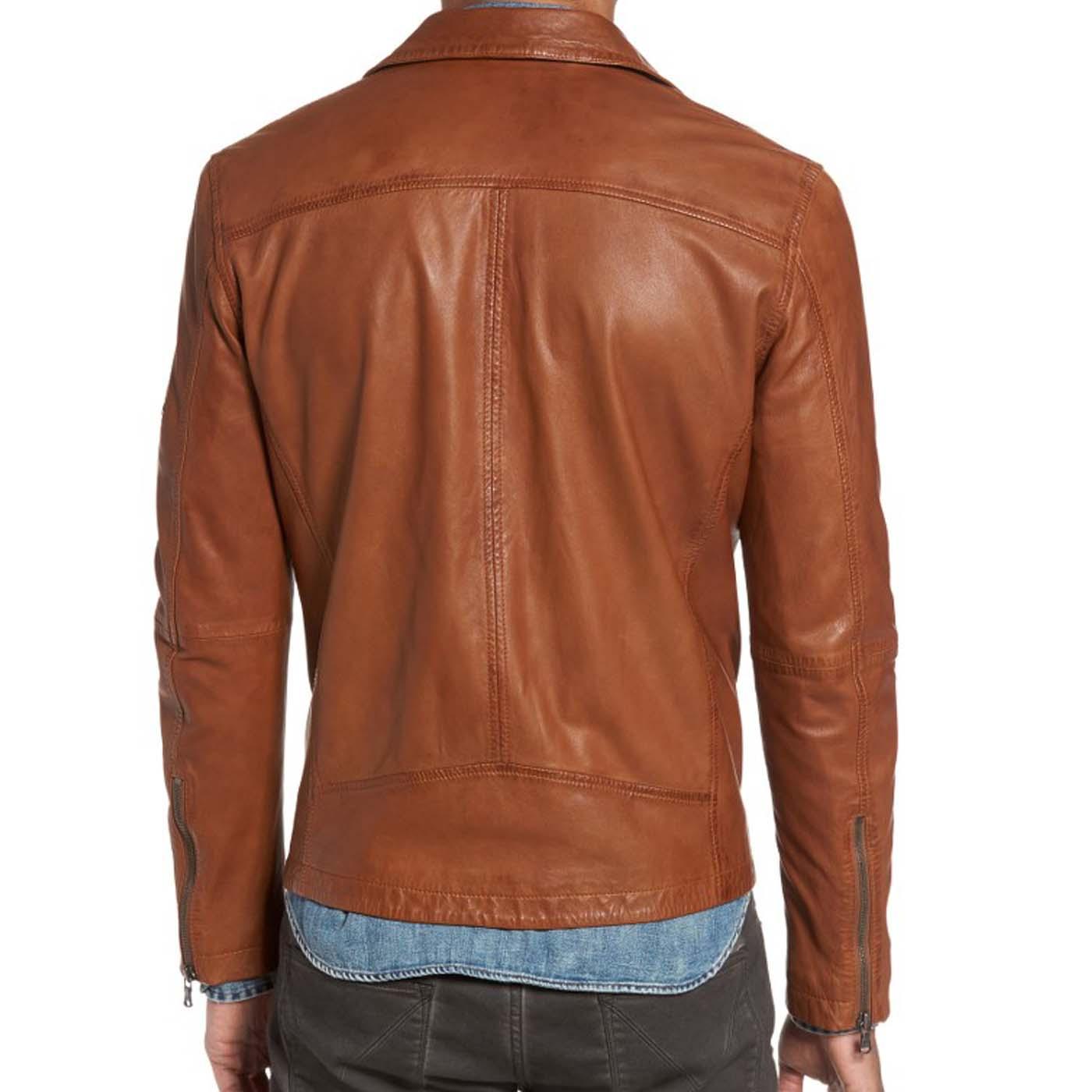 Leather Moto Jacket .