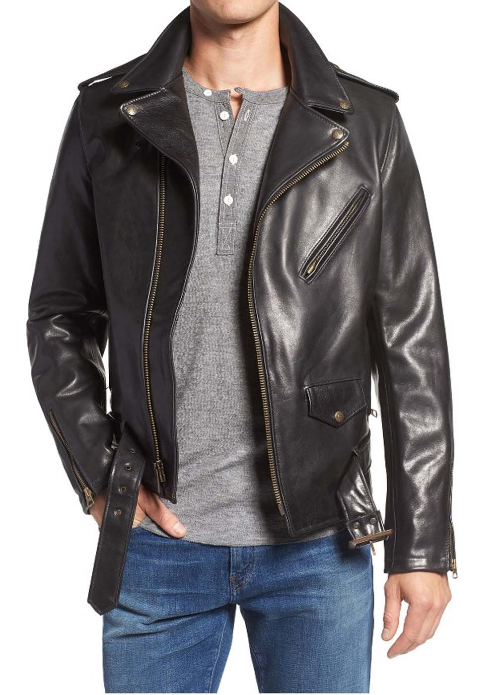 Mens Black Leather Motorcycle Jacket In Uk Canada Usa Australia