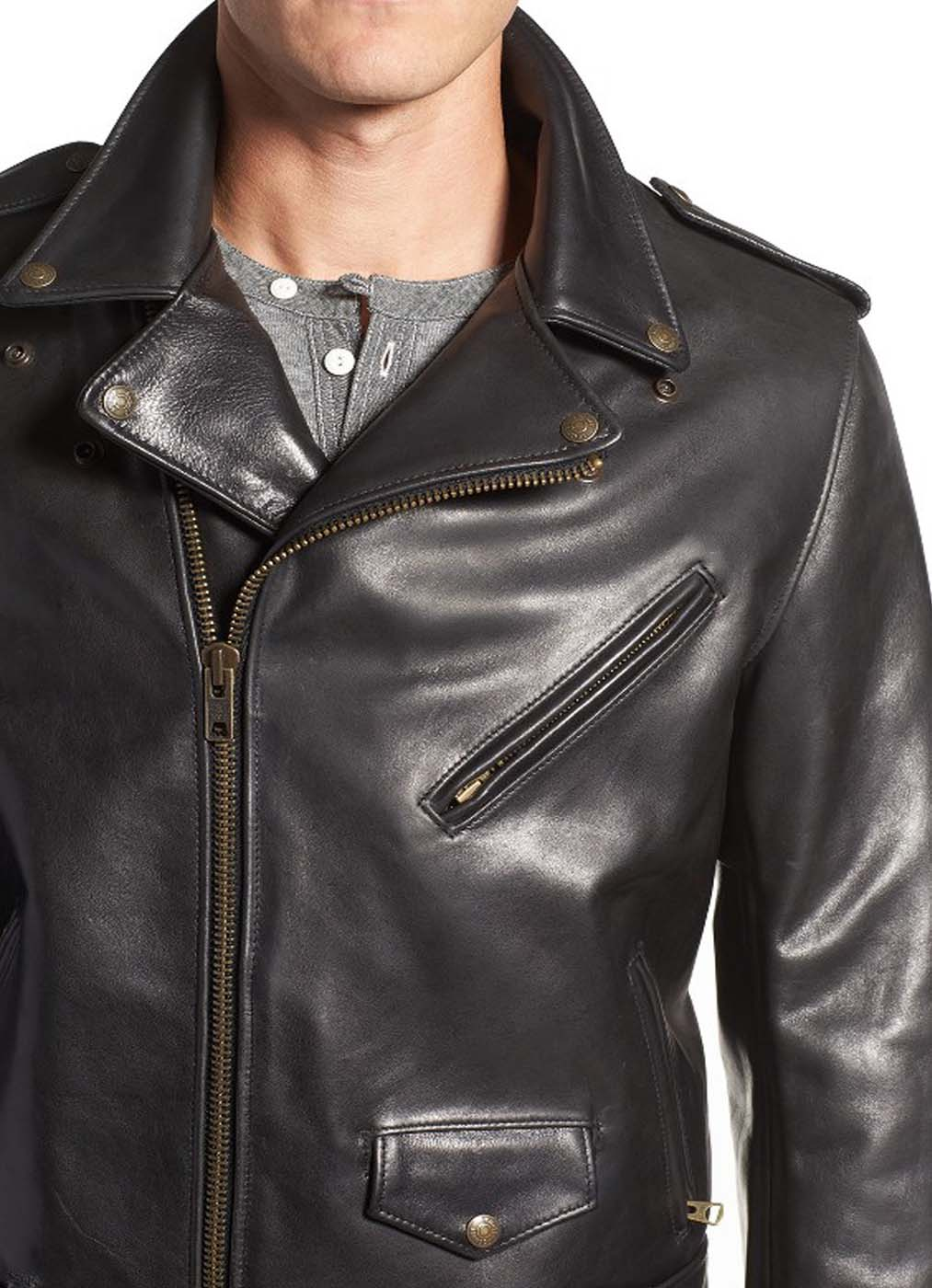 Leather Moto Jacket For Men.