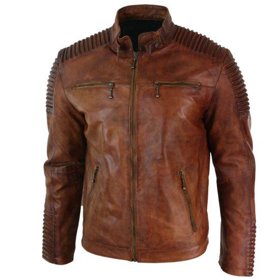 Mens Biker Vintage Cafe Racer Wax Distressed Brown Leather Jacket 1