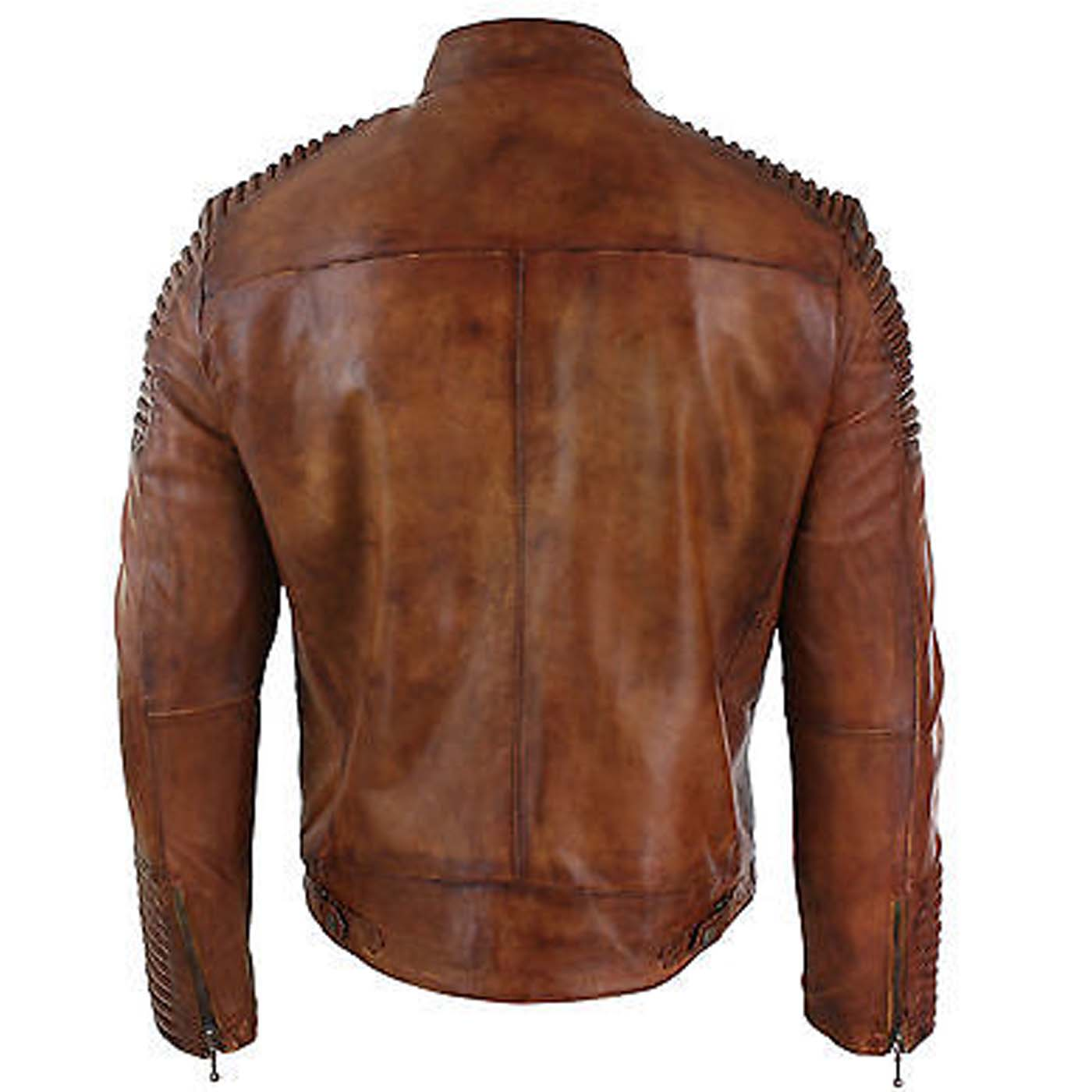 Mens Biker Vintage Cafe Racer Wax Distressed Brown Leather Jacket 2 copy
