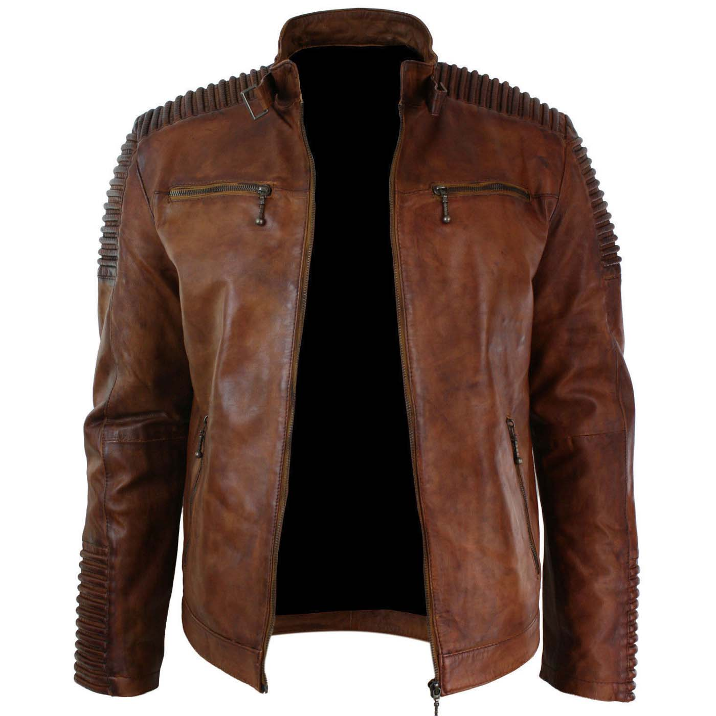 Mens Biker Vintage Cafe Racer Wax Distressed Brown Leather Jacket