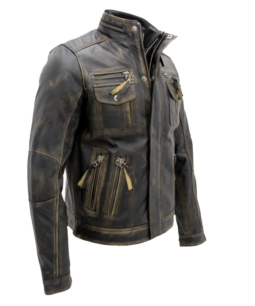 Men's Vintage Black Warm Leather Retro Biker Jacket 1…..