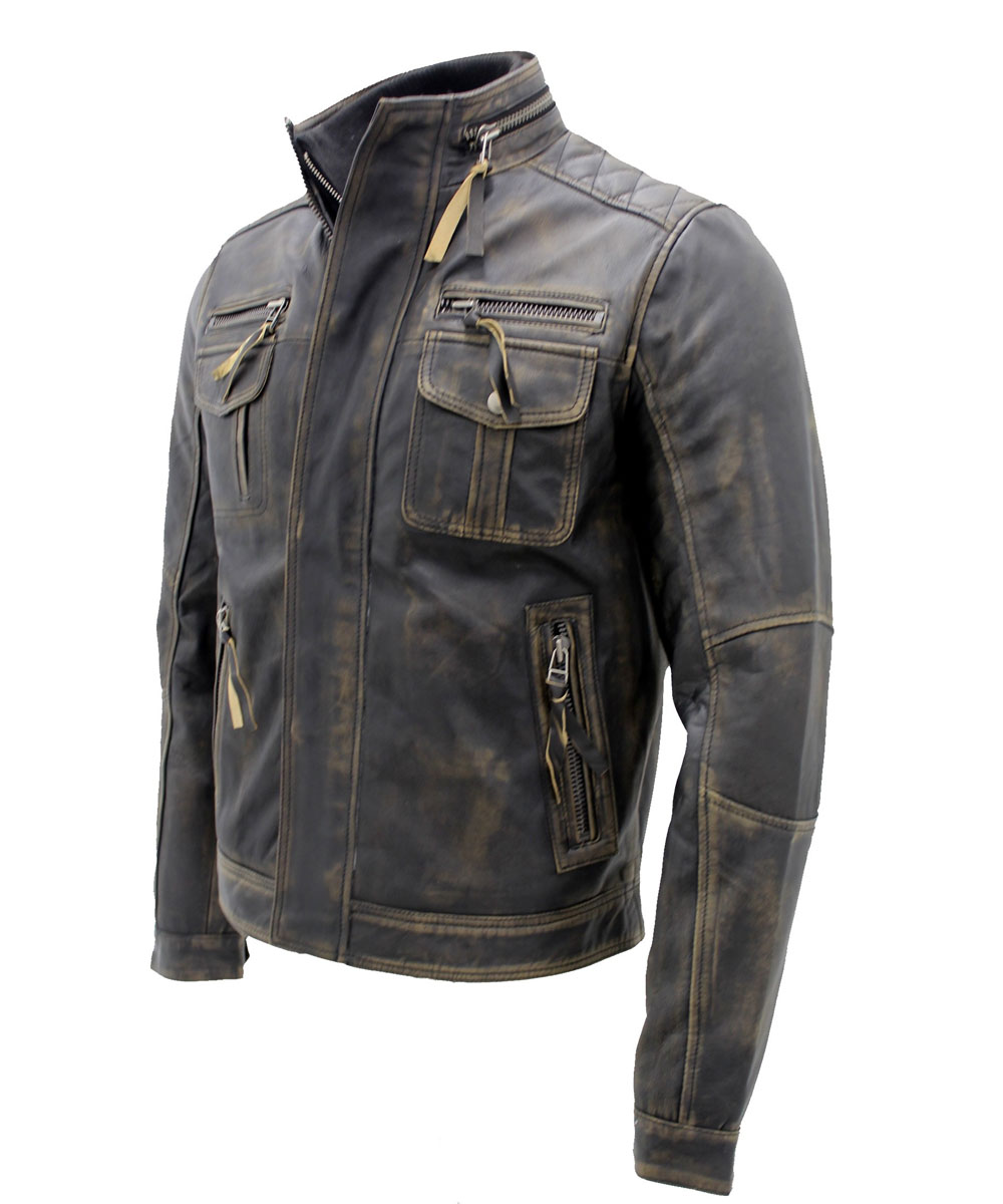 9160d1d9688 Men s Vintage Black Warm Leather Retro Biker Jacket ...