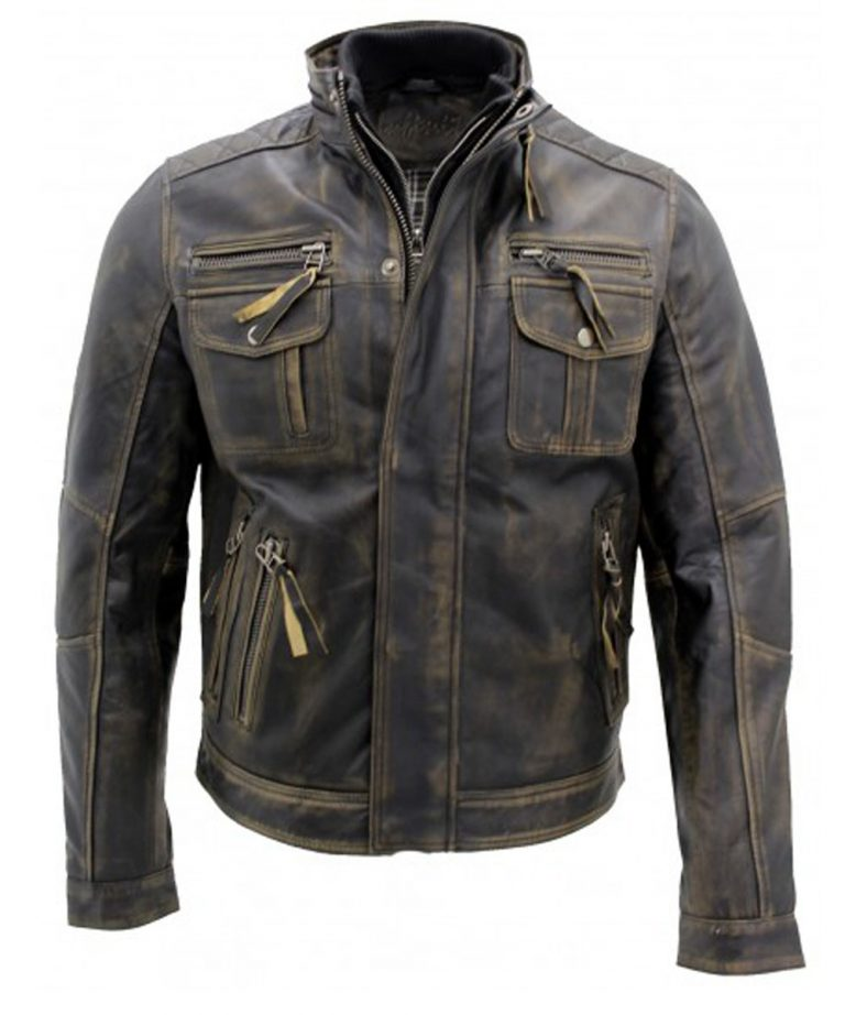Men's Vintage Black Warm Leather Retro Biker Jacket…..
