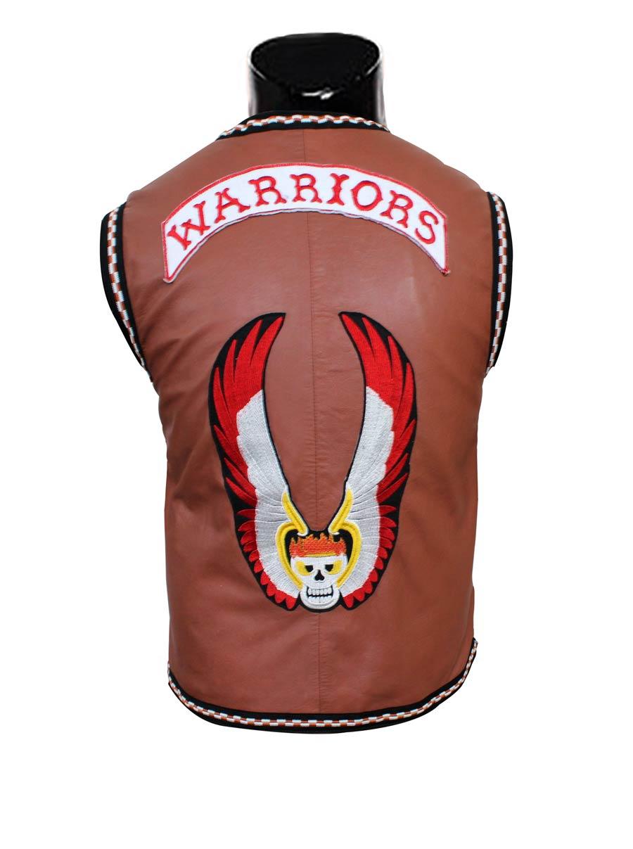 The Warriors Vest Skull Mens Leather Jacket For sale 1