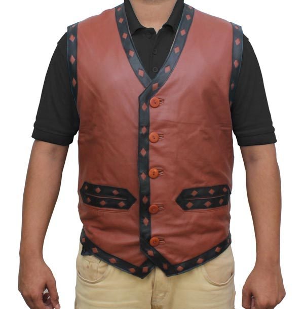 The Warriors Vest Skull Mens Leather Jacket For sale