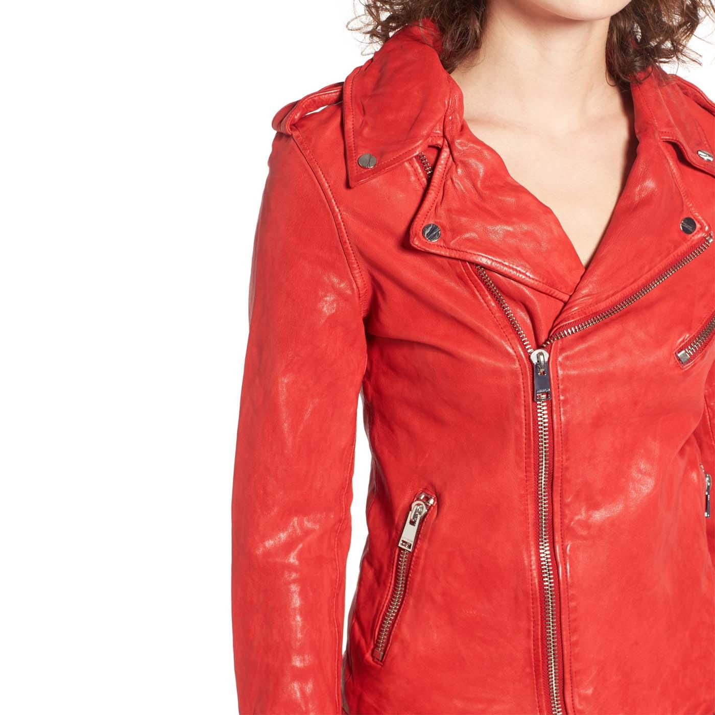 Washed Lambskin Leather Moto Jacket 1.