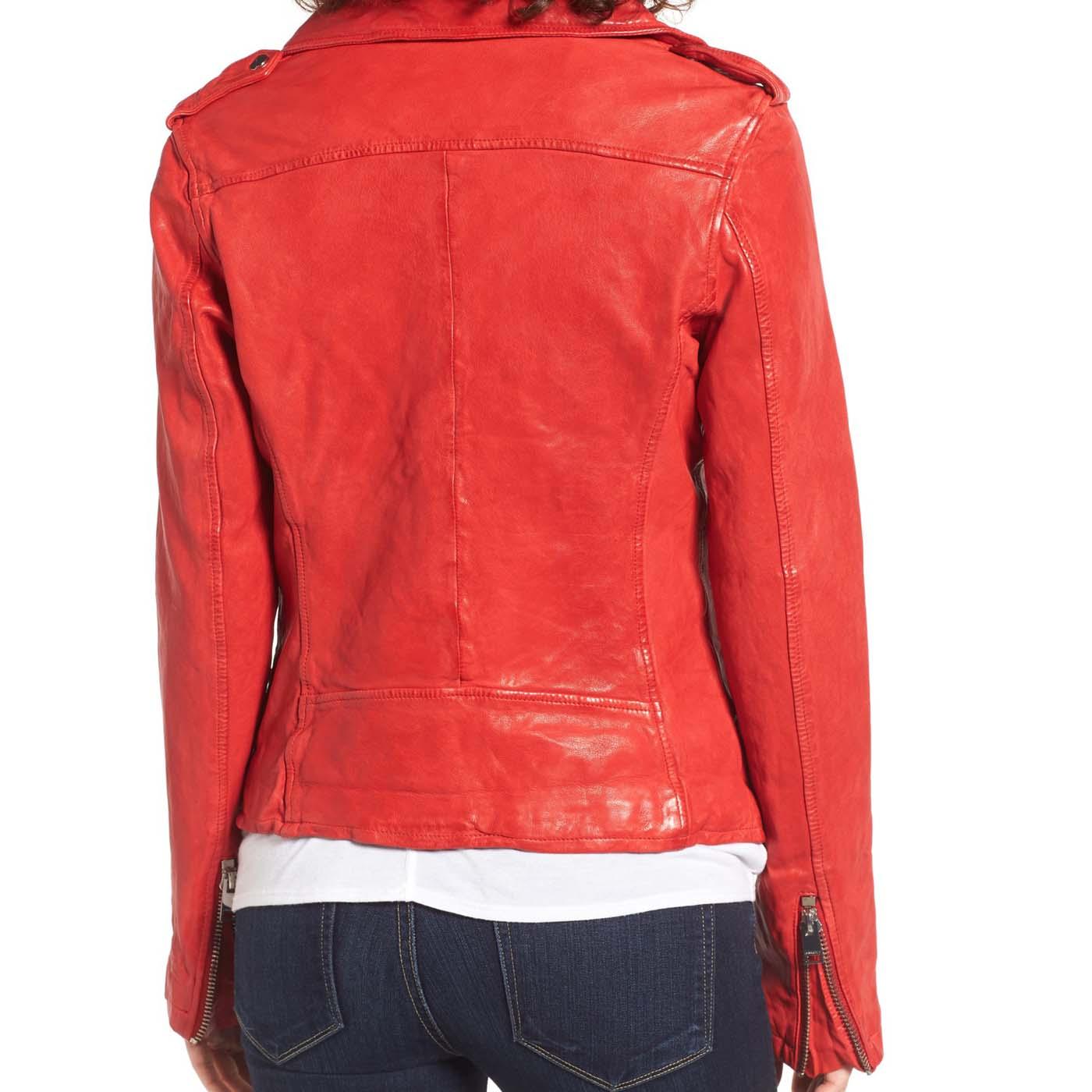Washed Lambskin Leather Moto Jacket 3.