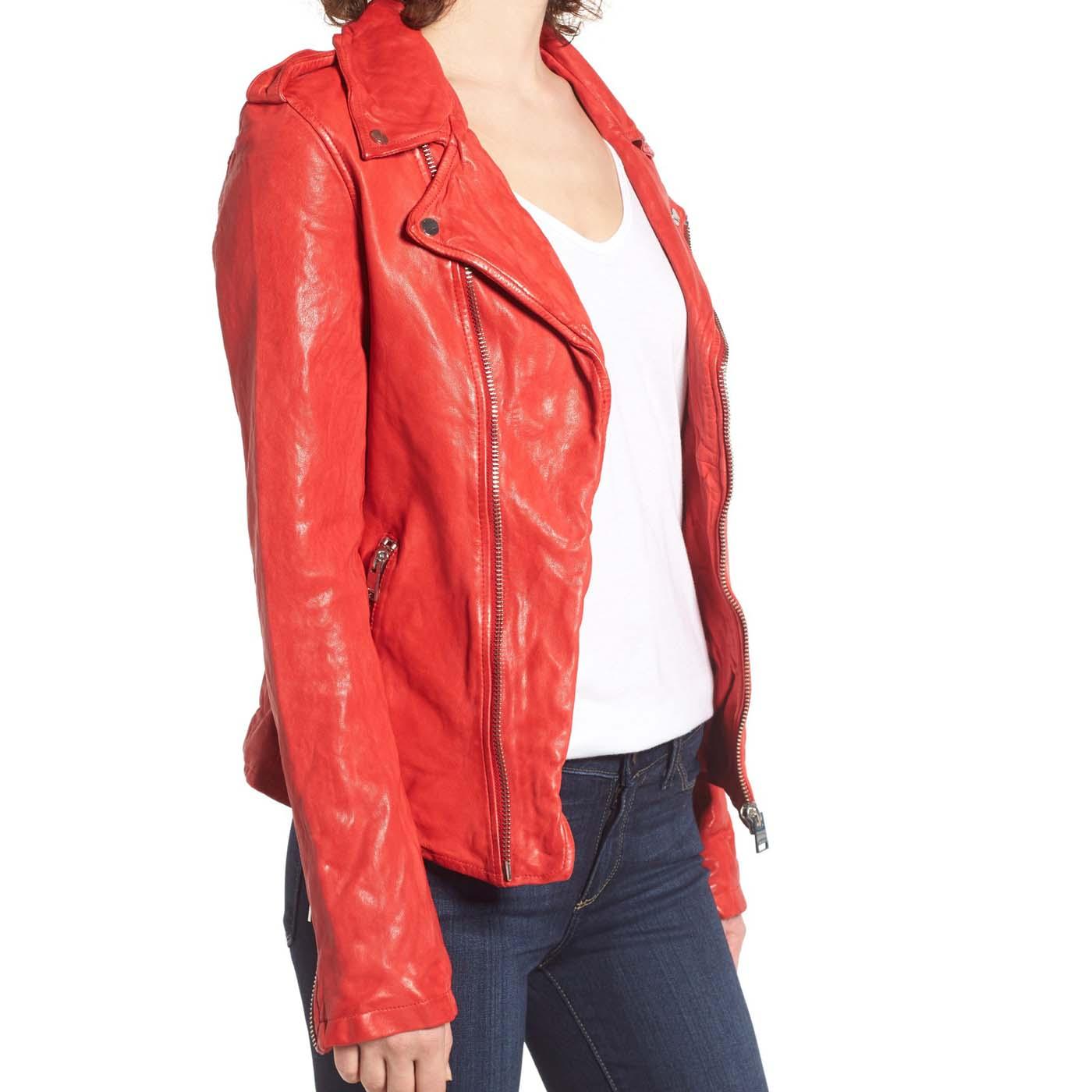 Washed Lambskin Leather Moto Jacket..