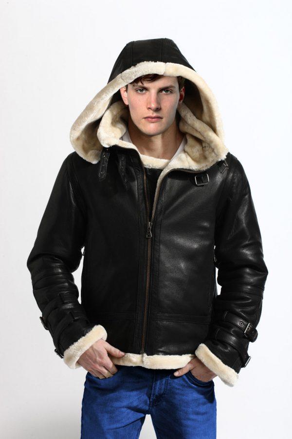 b3 bomber shearling jacket front cap