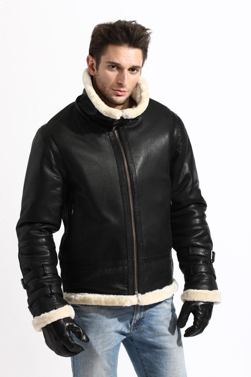 Mens Black Bomber Shearling Jacket In USA 3aee2ac0ac9