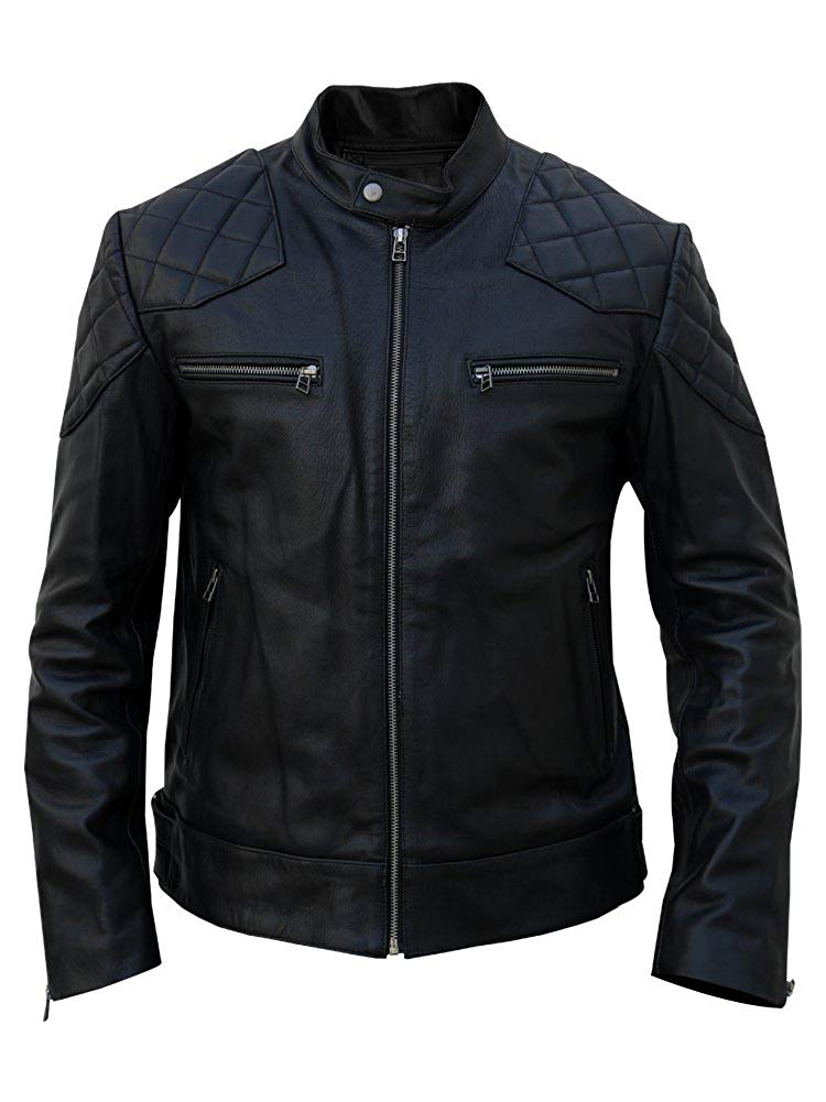 David Beckham pale leather jacket