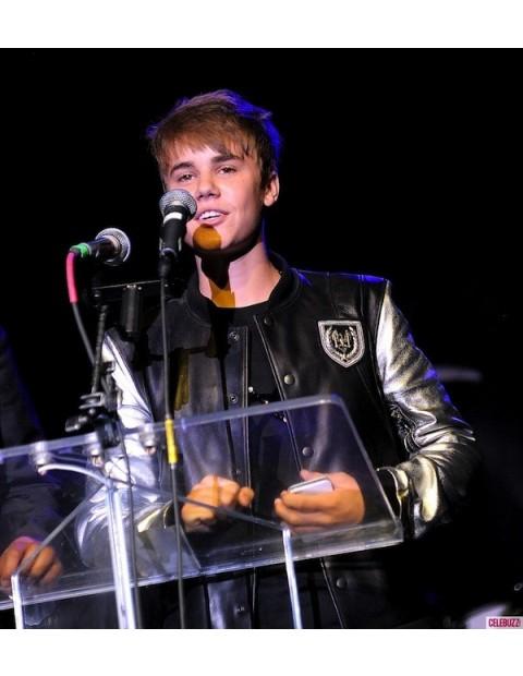 Singer Justin Bieber Balmain Silver Sleeve Jacket