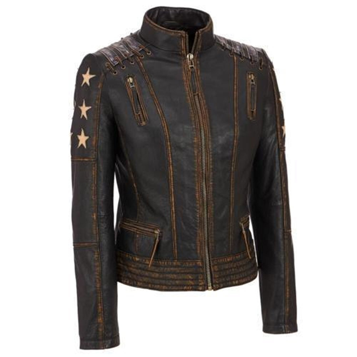 Wonder Women Distressed Brown Cafe Racer Vintage Style Waxed Leather
