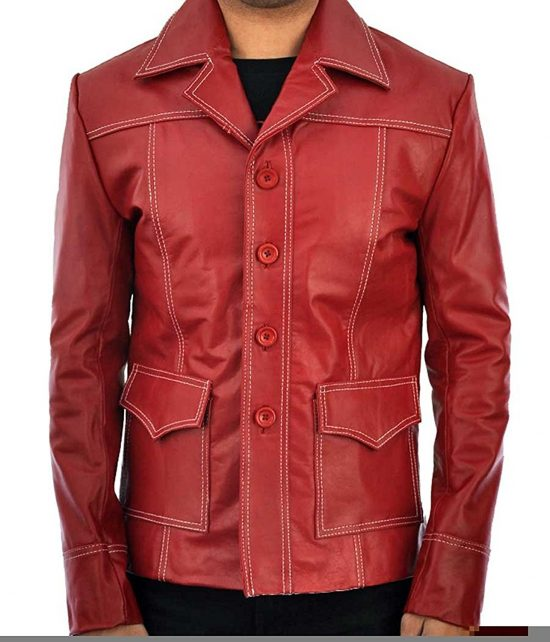 Brad Pitt Fight Club RedLeather Jacket