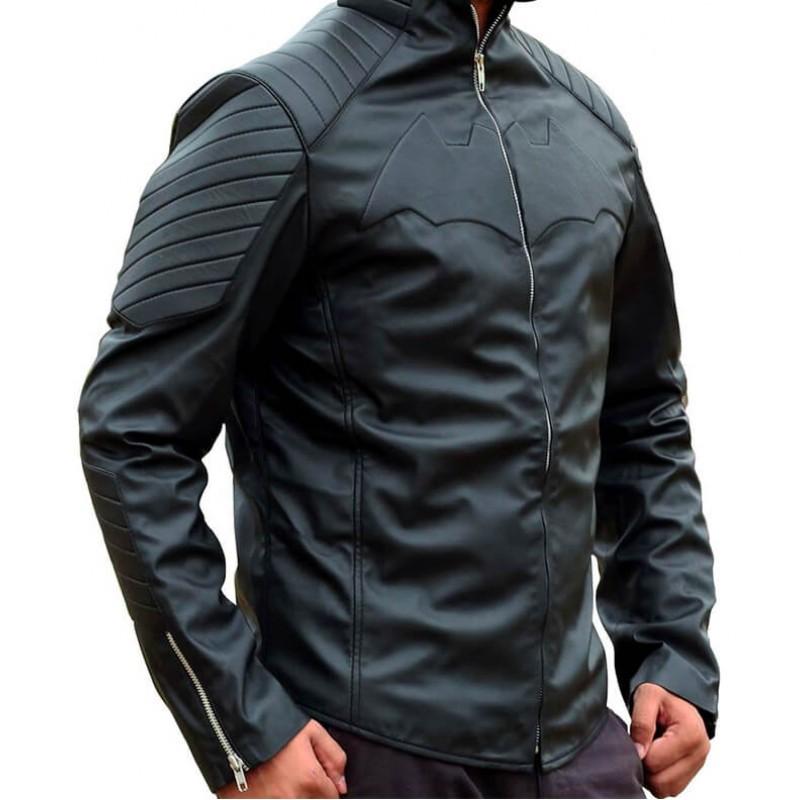 Bat Logo Black Leather Jacket 2-800×800