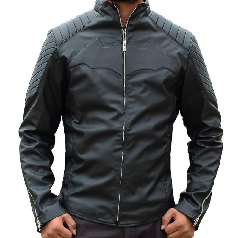 Bat Logo Black Leather Jacket-800×800