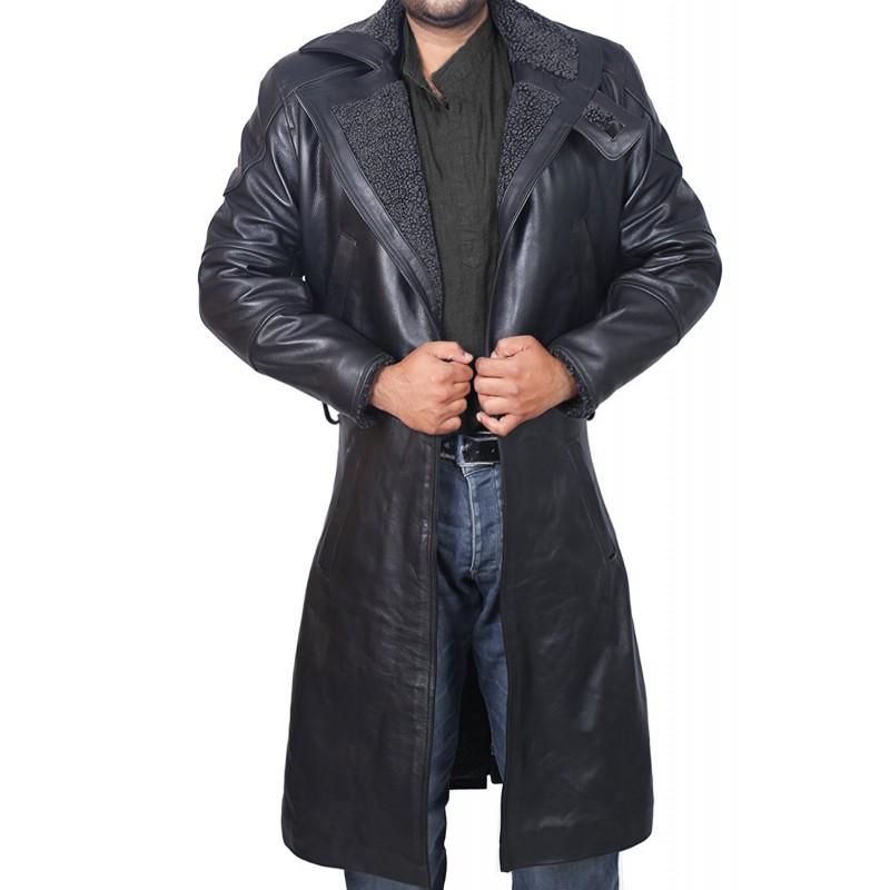 Blade Runner Black Leather Jacket Ryan Gosling Fur Coat (3)-800×800