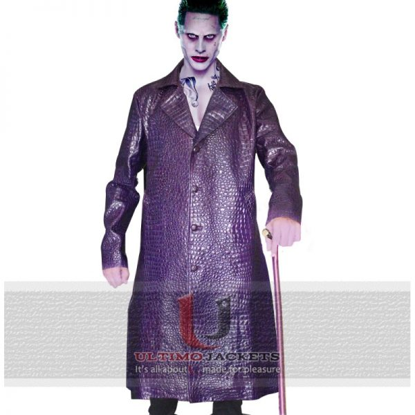 Suicide Squad Jared Leto Joker Leather Jacket Crocodile Texture Coat