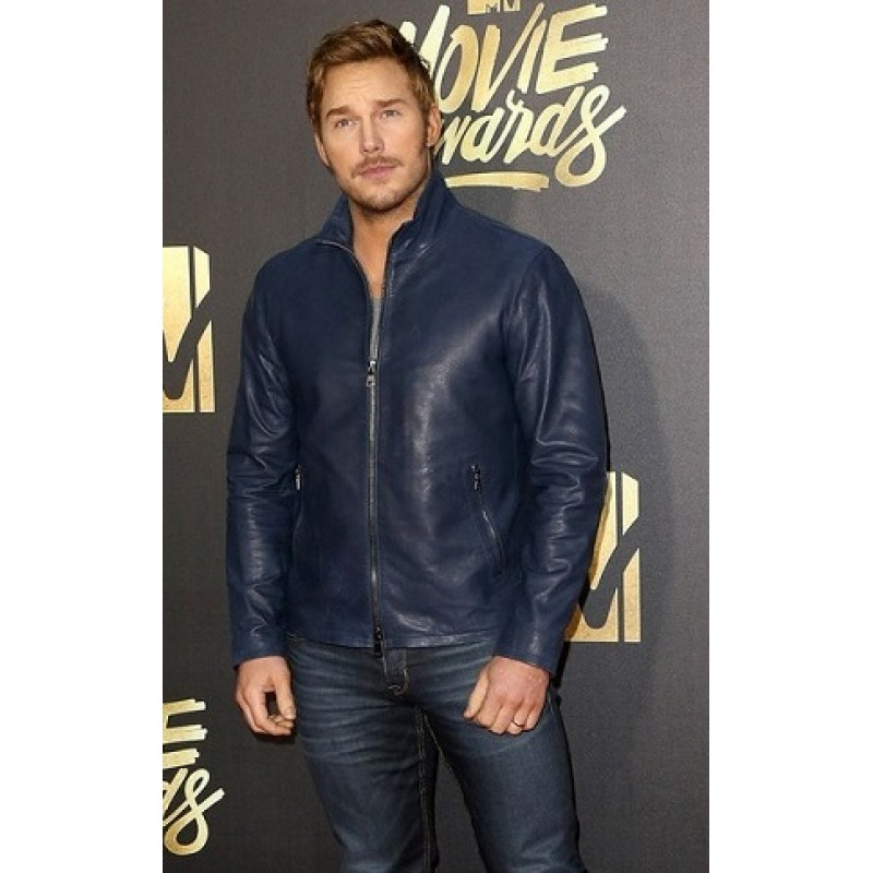 Dark blue leather jacket