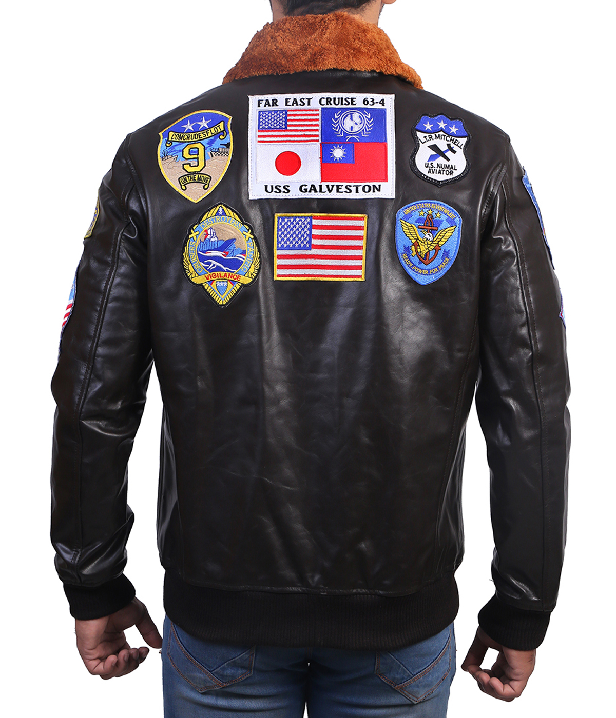 top gun leather jacket back