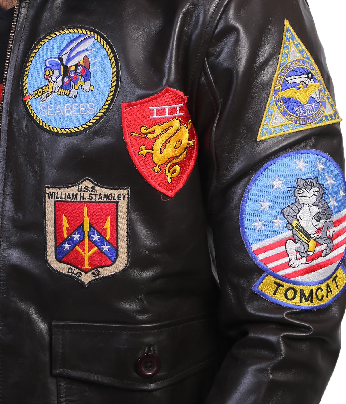 top gun leather jacket back2