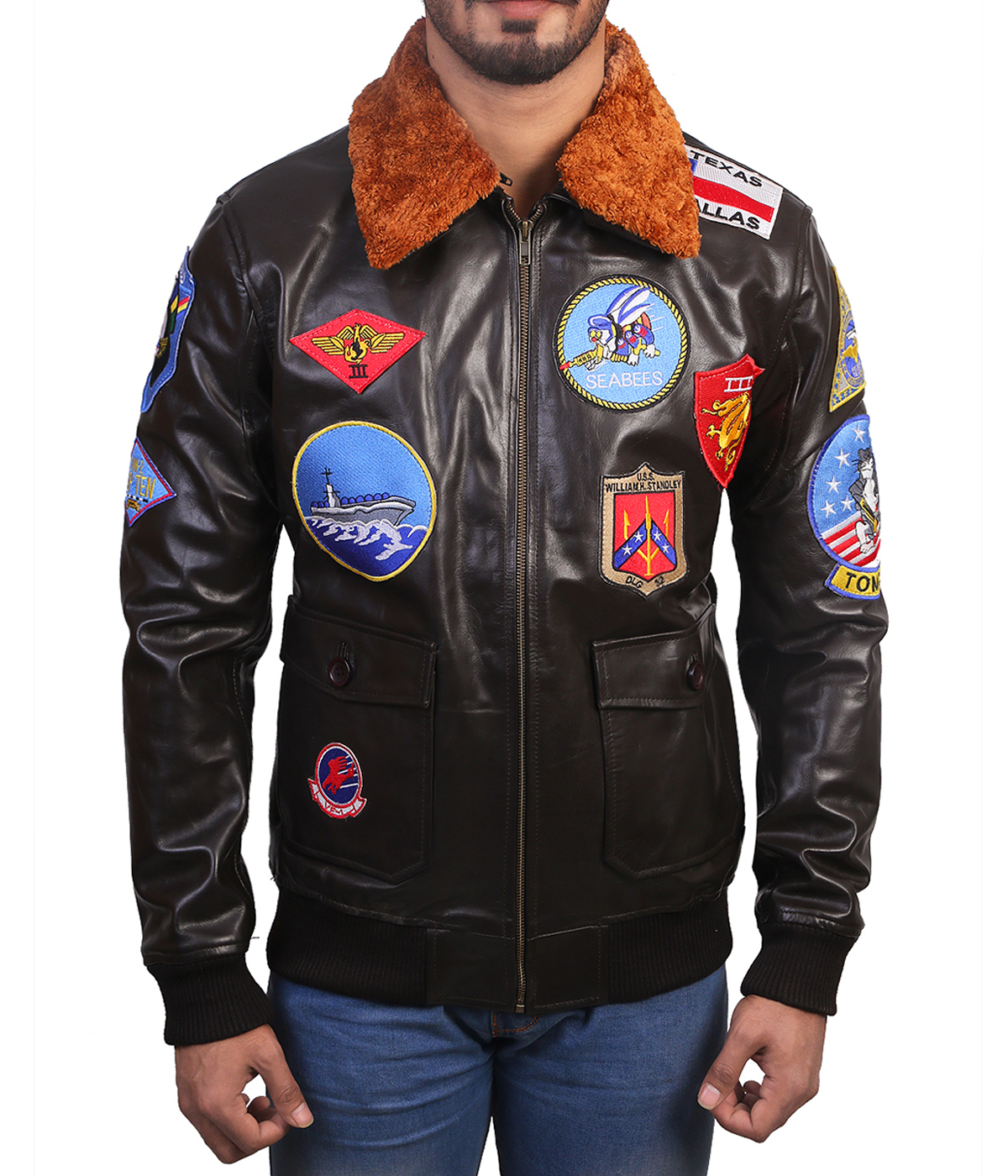 top gun leather jacket front
