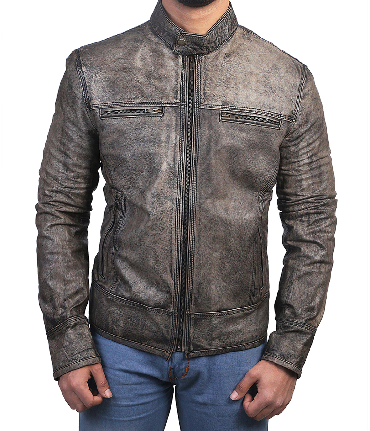 Distressed Wax Men S Biker Vintage Style Cafe Racer Motorcycle
