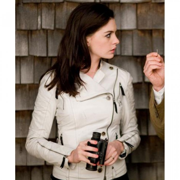 Anne Hathaway Get Smart White Leather Jacket For USA,UK