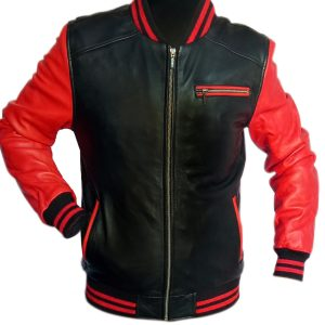 Red and black bomber leather jacket