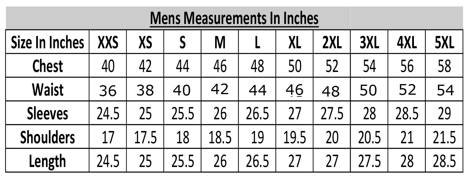 mens measurements in inches