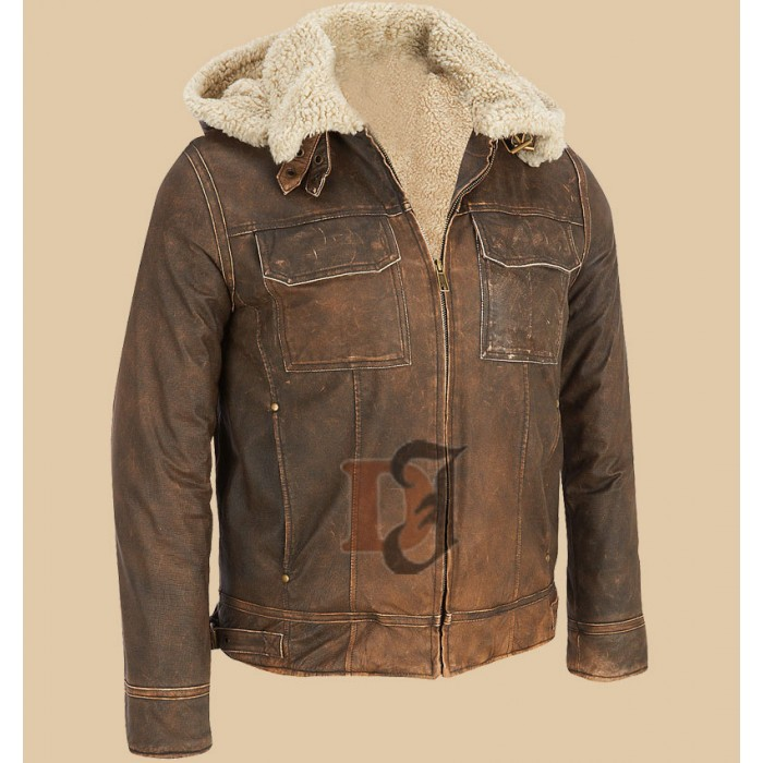 Light Brown Contrast Faux Fur Hooded Jacket-700×700